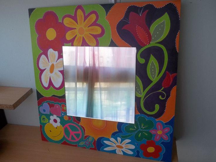 Espejos decorados pintados a mano reciclados 184601 for Espejos con marcos decorados