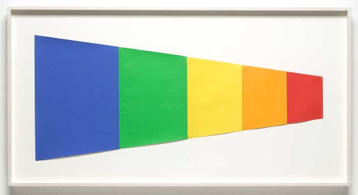 Ellsworth Kelly A horizontal trapezoid created from vertically oriented sheets of colored paper. Contained within the trapezoid is a study for blue, green, yellow, orange en red 1968
