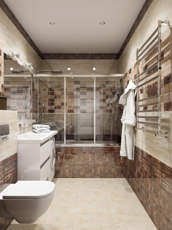 Ванная комната в песочно-кофейных тонах. Современная душевая кабина на всю ширину ванной комнаты.