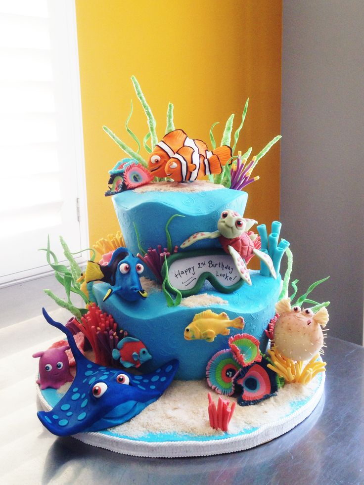 Best Disneys Finding Nemo Cakes Images On Pinterest Disney - Nemo fish birthday cake