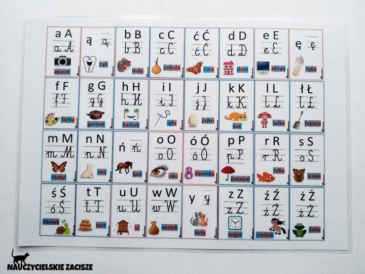 Alfabet Litery Plansza A4 Pomoce Dydaktyczne 7787013974 Allegro Pl Calendar Holiday Decor