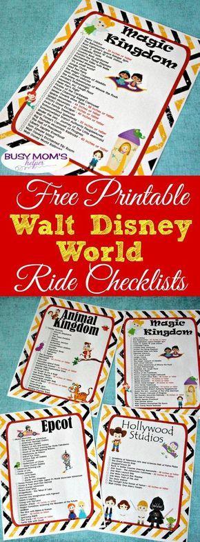 Free Printable Walt Disney World Ride Checklists
