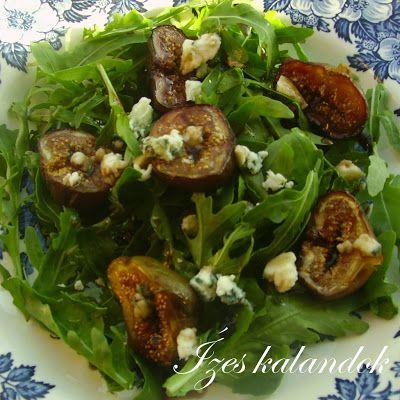 Sült füge saláta kék sajttal