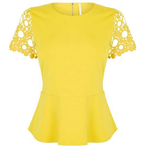 Karen Millen Circle Broderie Top (£90) ❤ liked on Polyvore featuring tops, shirts, women, yellow, circle shirt, peplum tops, embroidered top, embroidery top and yellow shirt
