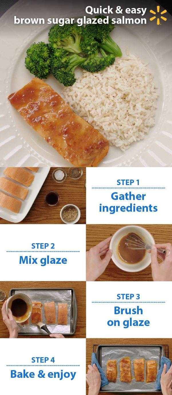 See how simple salmon is! Try tasty restaurant-quality Brown Sugar-Glazed Salmon for dinner. Cook this affordable, delicious complete meal for your family or guests in just 15 minutes using just 6 ingredients. This easy, healthy recipe pairs soy sauce, mustard and brown sugar with tender baked salmon fillets. Pair with rice and fresh vegetables sides.  Free up family time with time-saving, mom-approved Simple Meals from Walmart.