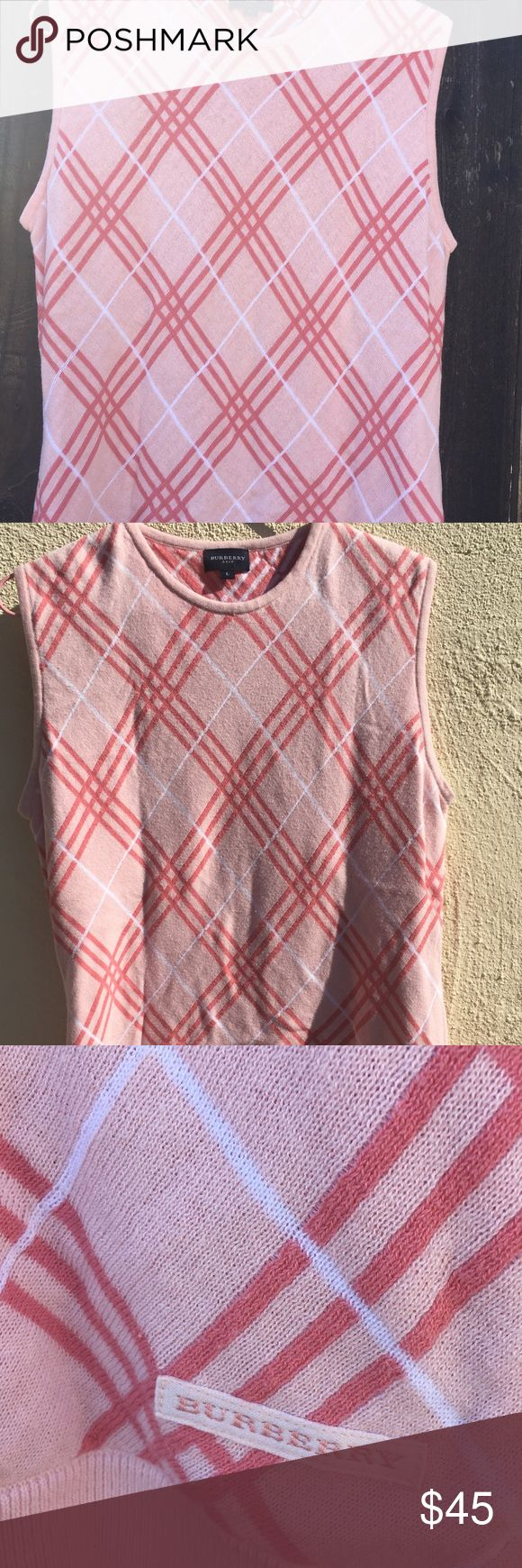 Burberry Golf Pink Sweater Vest Excellent Used Condition Pink Burberry Golf Sweater Vest! Burberry Golf Sweaters Crew & Scoop Necks
