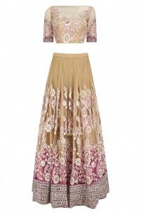 Beige and Pink Shaded Floral Embroidered Lehenga Set