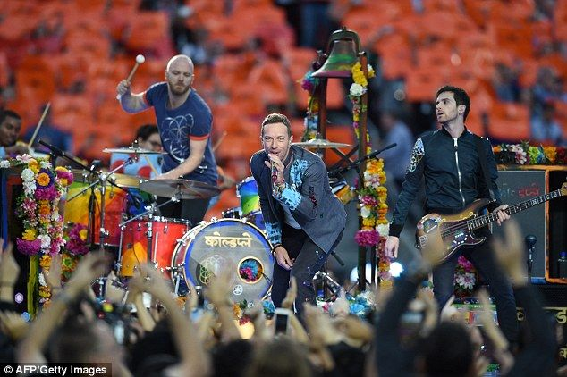 Viral: The video reached Coldplay (pictured performing during Super Bowl 50) who went on to share it on their official page with the words: 'This kind of thing makes it all worthwhile. Hola Luis y tu hijo hermoso! Love'