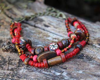 African art - Tribal Beads - Rustic Bracelet - Primitive Jewelry - Women's Bracelet - Clay Beads - Unique Beads - African Bracelet