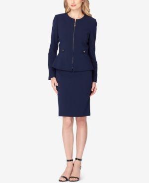 Tahari Asl Petite Zip-Up Peplum Skirt Suit - Blue