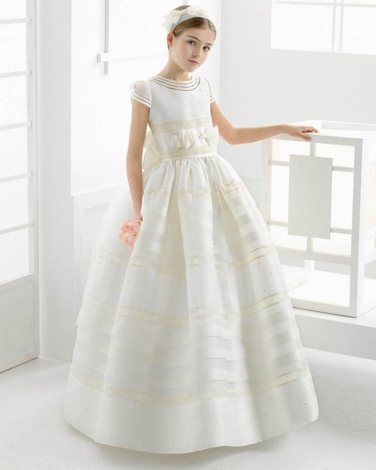 Organza Pattern Ball Gown Jewel Neck Cap Sleeve First Communion Dress With Bow