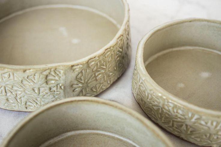 Set of three textured display dishes.  #stoneware #pottery #ceramics #clay #handmade #handmadeisbetter #ceramica #ceramic #keramik #shoplocal #vancouver #instapottery #potterystudio #iloveclay via: #probeatzpromo