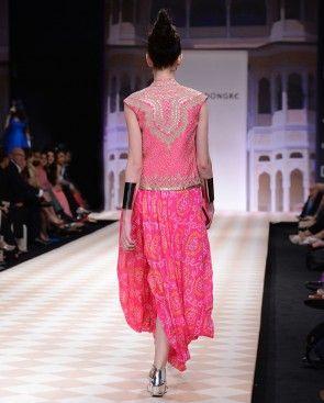 Hot Pink Bandhani Dhoti Gown with Bandi Jacket