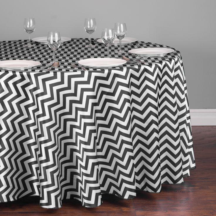 Round Chevron Satin Tablecloth Black | Black U0026 White Wedding | Pinterest