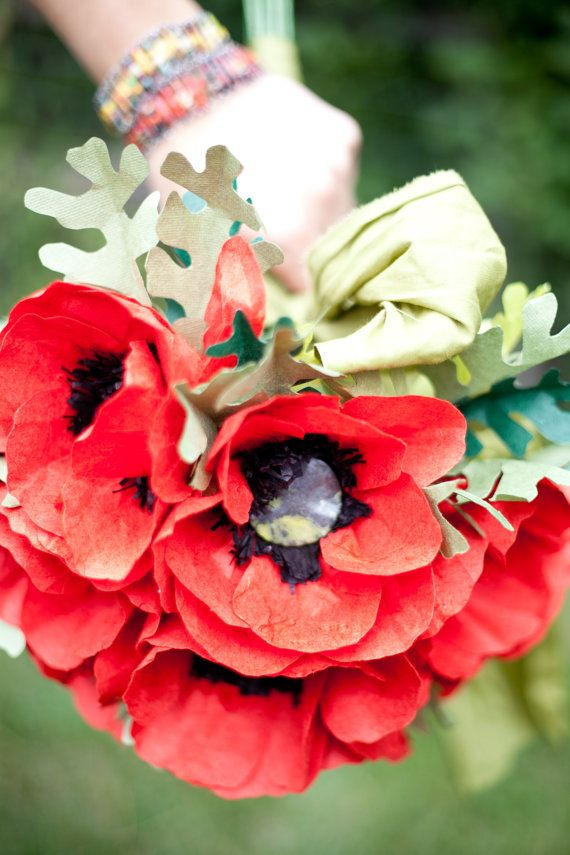 Bright Poppy Paper Flower Wedding Bouquet Spring By LoveleeFlowers