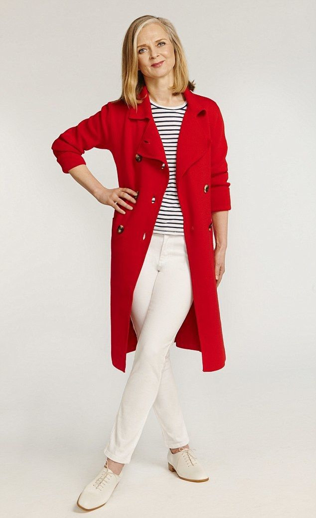 Shop this look on Lookastic: https://lookastic.com/women/looks/red-trenchcoat-white-and-black-crew-neck-t-shirt-white-jeans-beige-oxford-shoes/13304   — Red Trenchcoat  — White and Black Horizontal Striped Crew-neck T-shirt  — White Jeans  — Beige Leather Oxford Shoes