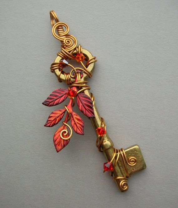 Fire Tree Wire Wrapped Key Pendant -- Flame red leaves, golden wire, brass key…