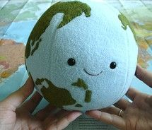 Today's Plushie of the Day is a earth plushie in celebration of Earth Hour that was just over the past weekend! This cute little globe plush will be staring cutely at you making sure that you remember to always reduce, reuse, and recycle to help save our planet.
