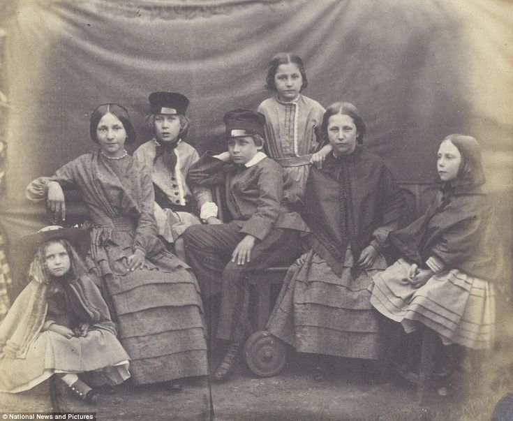 Photograph by Emma Johnston of Homstead, England. She began photographing about 1858.  Lots of tucks in the dressses