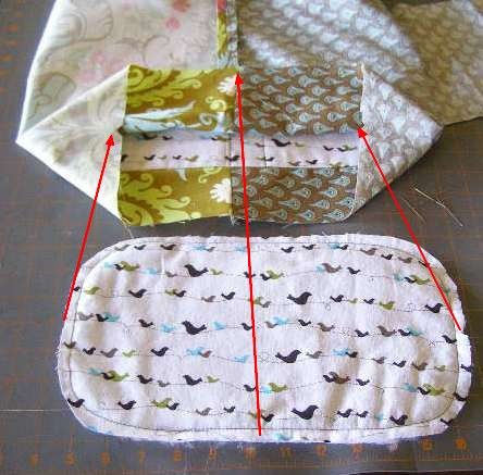 4.  Align marks on base to marks and seams on bag.