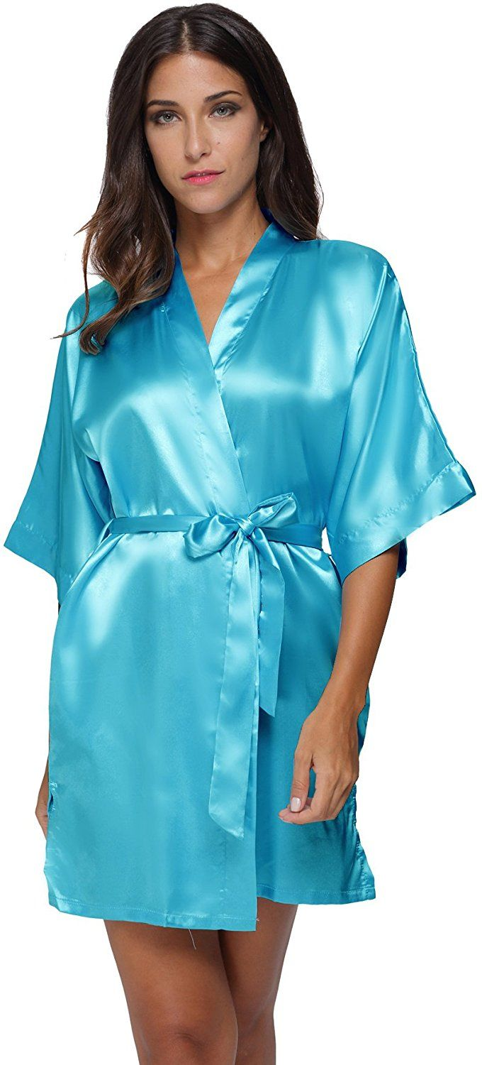 The Bund womens Pure Colour Short Kimono Robes with Oblique V-Neck apricot  Small at Amazon Women s Clothing store  a879d9162