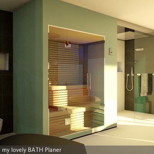 Das ist eine Referenz einer Badezimmerplanung mit Sauna, WC und Bidet, einer freistehenden Badewanne mit Ausblick ins Grüne, Doppelwaschtisch und einer XXL …
