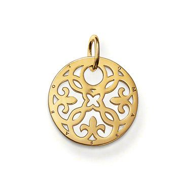 Ornament pendant with eyelet 925 Sterlingsilver; 18K yellow gold plated The small Arabesque disc with 750 yellow gold plating (18 carat) is seductively exotic and is a particularly glamorous eye-catcher when combined with matching pendants. Size: 2.2 cm