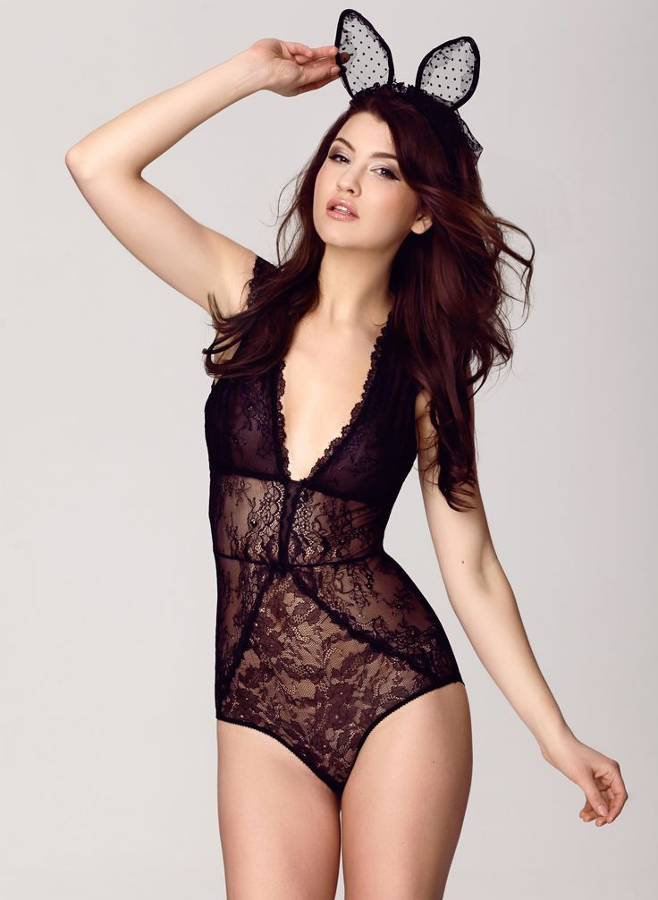 Koronkowe body Chaya, Lingerie, Sexy, Lace, Girl, Woman, Black lingerie, Woman, Brunette, Bodysuit