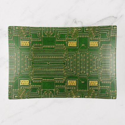 Gold And Green Printed Circuit Board Pattern Trinket Trays