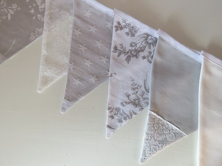 Muted soft grey and white bunting.