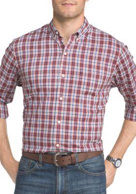 Izod Men's Long Sleeve Advantage Performance Stretch Tattersall Shirt - Cinnabar - Xxlarge