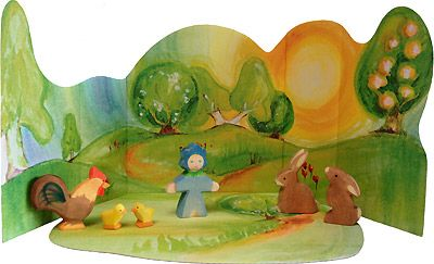 This picture has so many elements that could be re-created for the Easter nature table. A beautiful backdrop, story telling figures... Just lovely.