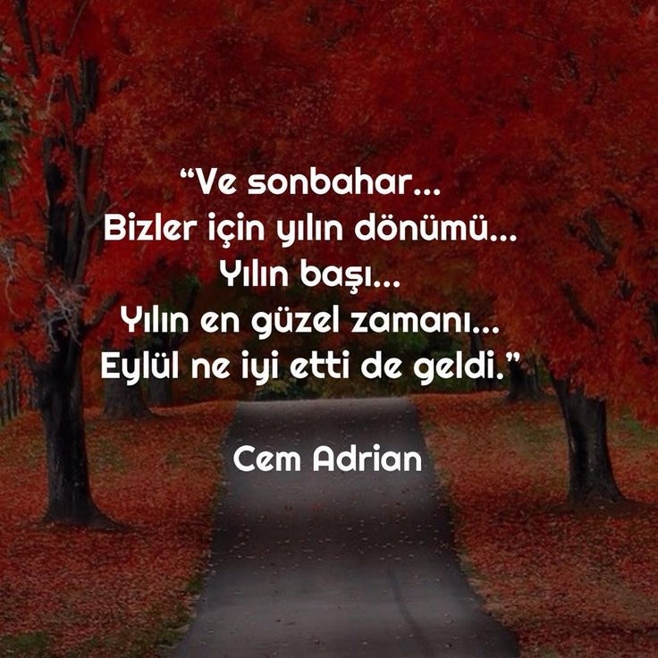 Ve sonbahar... Bizler için yılın dönümü... Yılın başı... Yılın en güzel zamanı... Eylül ne iyi etti de geldi. - Cem Adrian #sözler #anlamlısözler #güzelsözler #manalısözler #özlüsözler #alıntı #alıntılar #alıntıdır #alıntısözler