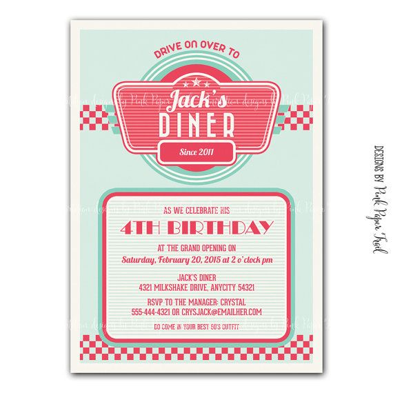 fifties diner supplies | Retro 1950's Diner Themed Invitation v.2 - Digital File - Customizable ...