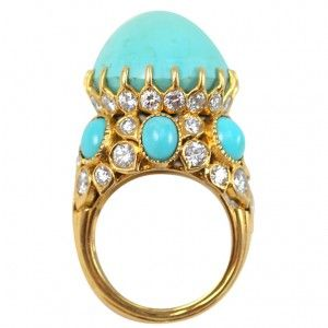 cartier diamond and turquoise ring, 1950's