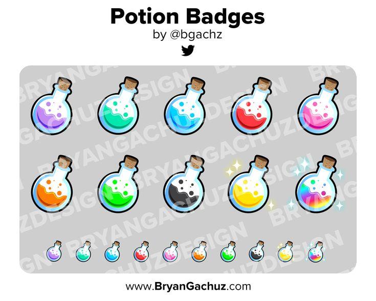 Potion bottle subscriber loyalty bit badges channel etsy