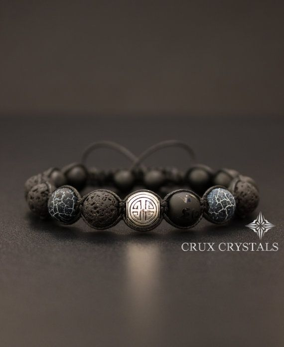 SHOU/LONG LIFE Lava Rock Black Onyx & Agate Mens by CruxCrystals
