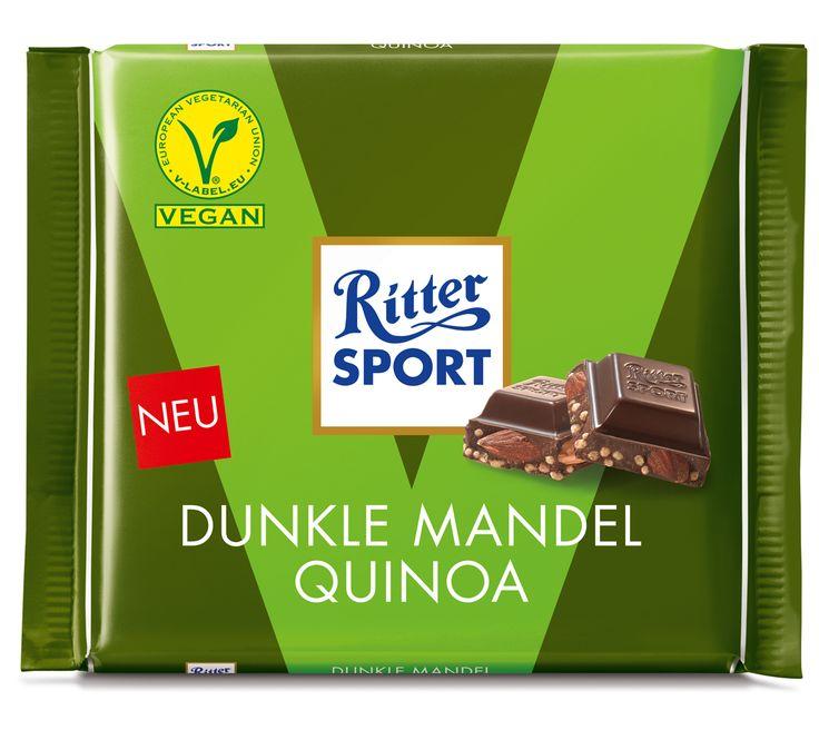 RITTER SPORT Vegan: Dunkle Mandel Quinoa – vegane Schokolade