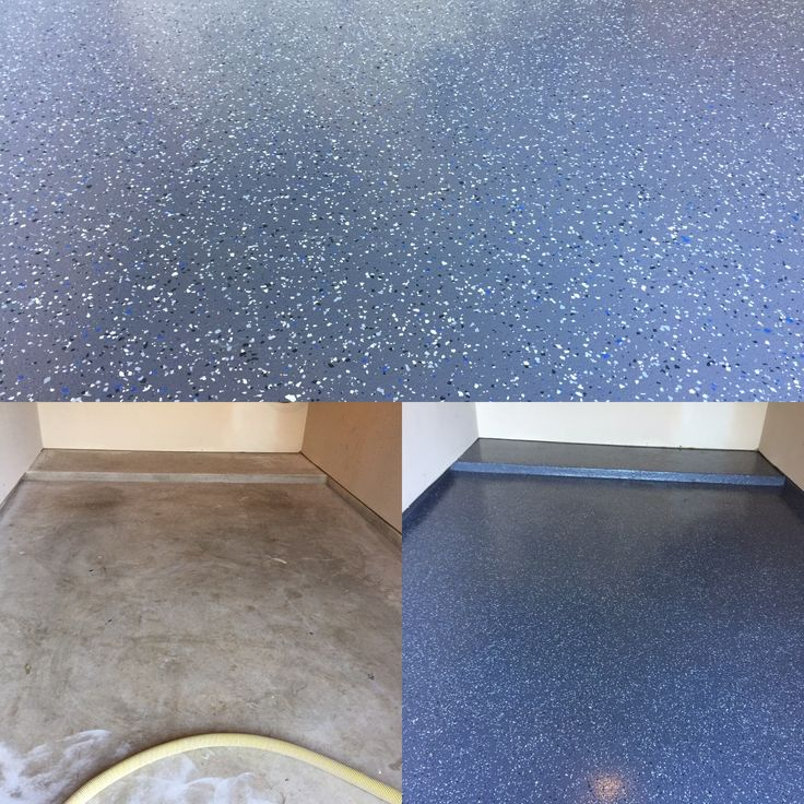 Garage Floor Done With A Partial Flake Epoxy Floor Coating.