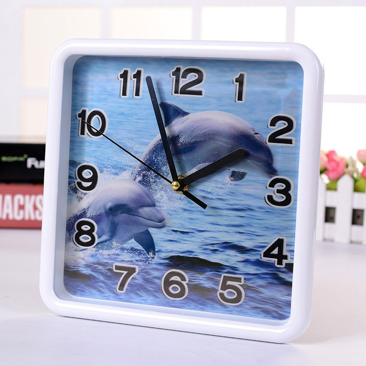 3D Square 8 Inch wall clock Mediterranean style Sailboat Dophin pictures Home Decor clocks Wall stickers DIY Wall clock
