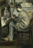 Pierre Auguste Renoir (1841-1919) Frédèric Bazille- Esta pintura se desarrolla en el taller de un artista,los elementos que componen esta obra son:un gran ventanal que permite una extraordinaria luz al artista,unos lienzos,un lugar para que el artista apoye sus pies,una silla y en primer plano al hombre,refleja la concentracion y delicadeza de este hombre a la hora de expresar sus ideas sobre el lienzo,los colores manejados son frios y su gama es muy amplia