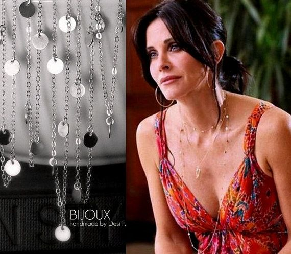 Courtney Cox Cougar Town  Tiny Discs Long Silver by bijouxbydesif, $32.00
