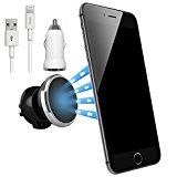 NessKa® Premium Universal Magnet Auto Handy Lüftung Halterung mit Ladefunktion + KFZ Ladegerät USB Kabel Ladekabel FÜR Apple iPhone 7 / SE / 6 / 6S / 6 Plus / 6S Plus / 5 / 5S / 5C | Schwarz / Silber