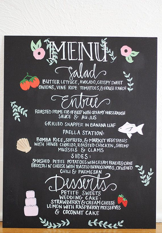 Illustrated Wedding Menu - Hand Painted & Lettered - 16 x 20 - Customizable via Etsy