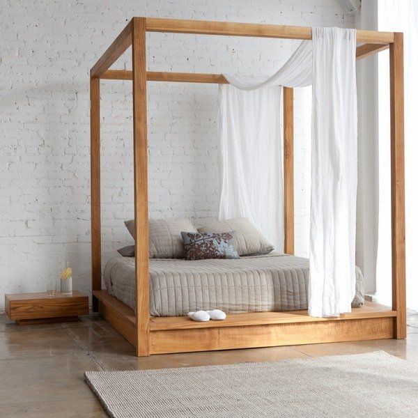 Wooden canopy bed for master bedroom (different stain)