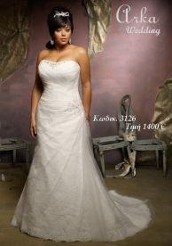 Νυφικό Κωδ 3126 Στράπλες Δαντέλα με κεντημένο μπούστο .Κατάλληλο για μιά παχουλή νύφη. Πληροφ.Τηλεφ.210 6610108 www.arkawedding.gr