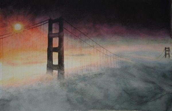 Golden Gate Bridge – San Francisco, USA, aquarelle 37 x 55, Arches 300gr Original: 600 Euro, Exclusive high end imprint on aquarelle paper - 100 Euro