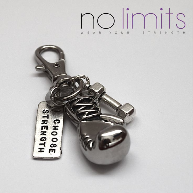 www.NoLimits.net.au Handmade fitness inspired jewellery.  KEYRING with boxing glove, strength and dumbbell charm