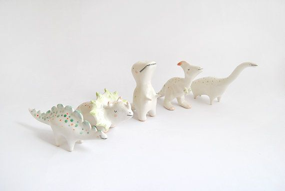 Diplodocus Figure Ceramic Dinosaurs with Red and by Barruntando