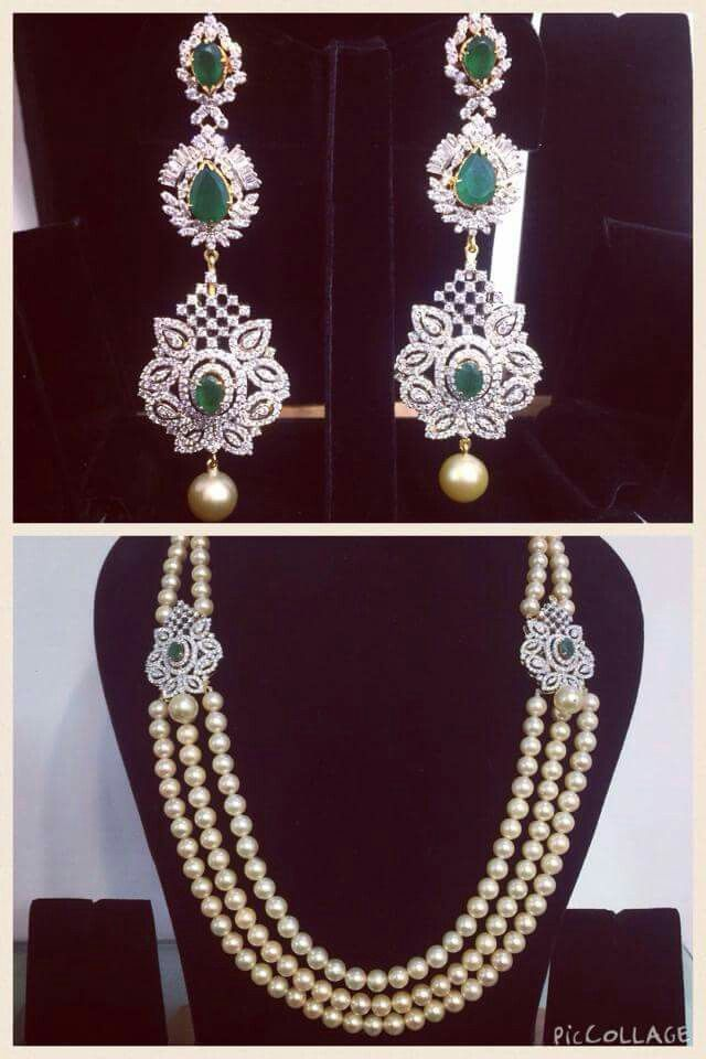 South indian jewellery designs-Pearls with diamonds